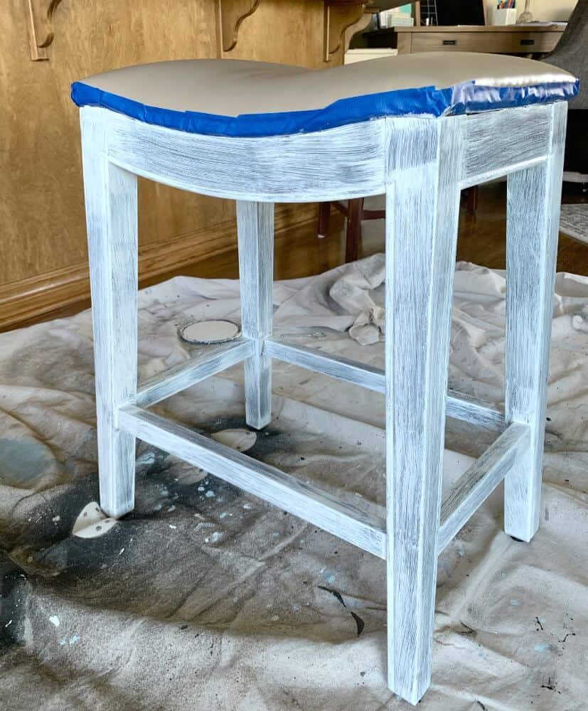 One coat of Stix Primer on wooden bar stool