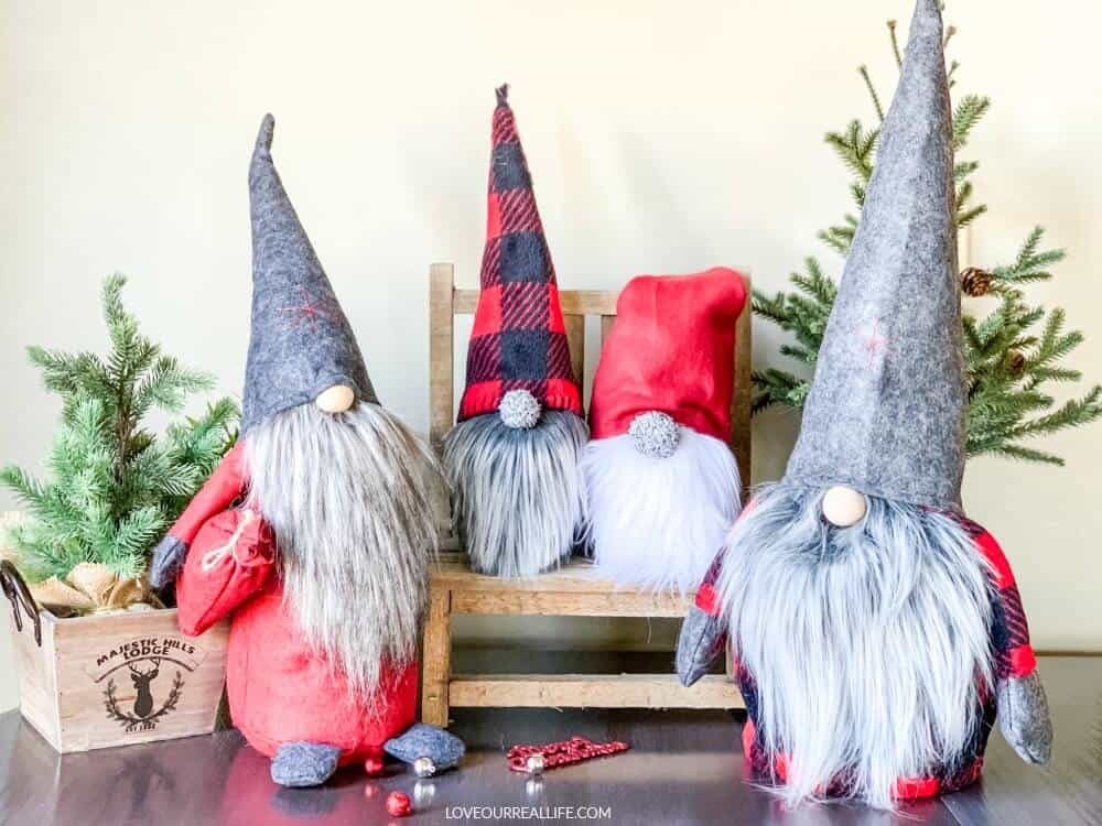Christmas gnomes on display