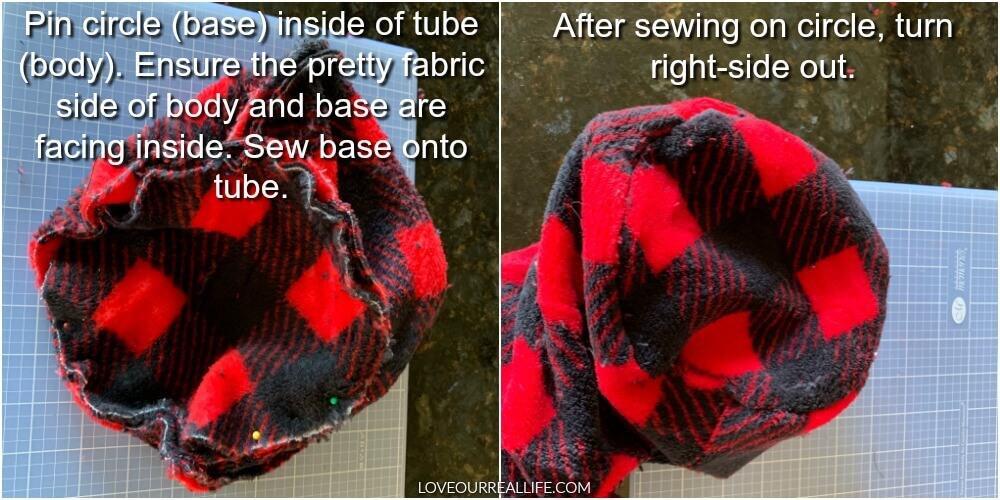 Sewing circle base on a tube