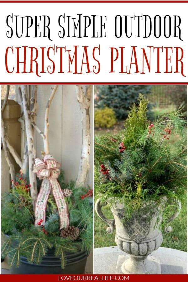 Outdoor Christmas planter diys