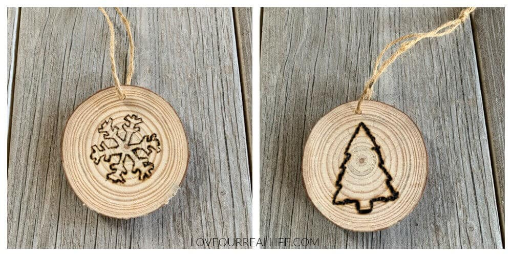 using twine on wood slice christmas ornament to hang on tree.