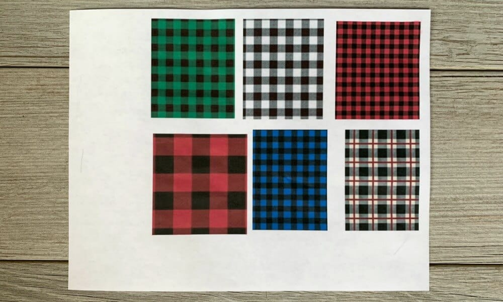 Buffalo plaid printouts for custom fridge magnets
