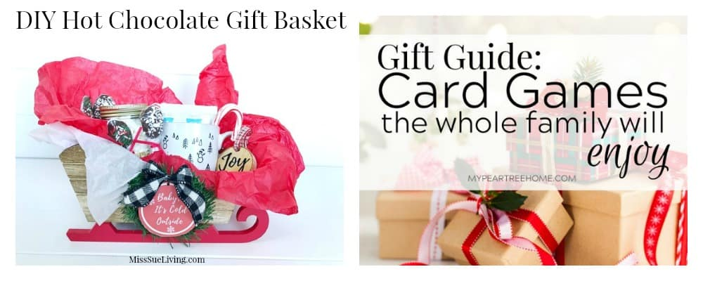 Hot chocolate gift basket and family card game gift guide