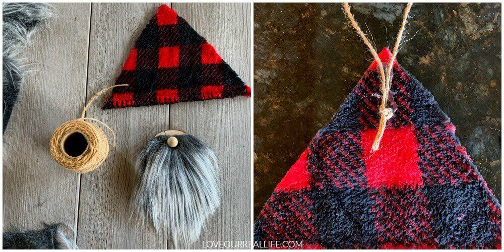 gnome tree ornaments: adding hat to wood slice