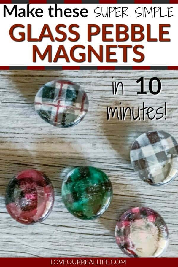glass pebble magnets in buffalo plaid prints