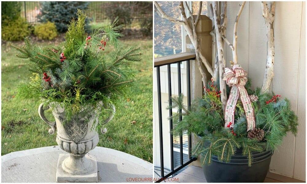 outdoor Christmas planter diy