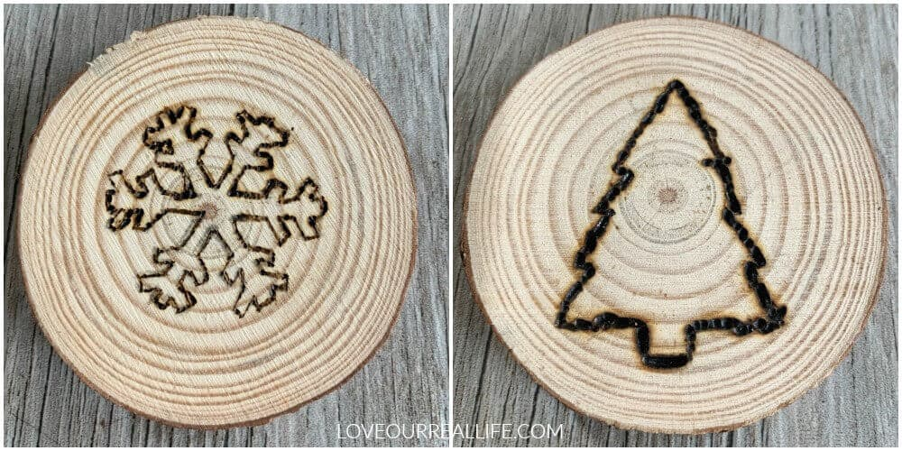 snowflake and christmas tree wood slice ornament