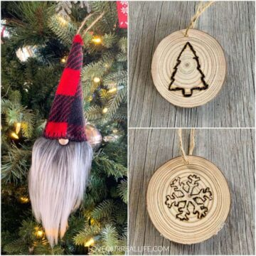 wood slice ornaments collage of word burning designs and gnome
