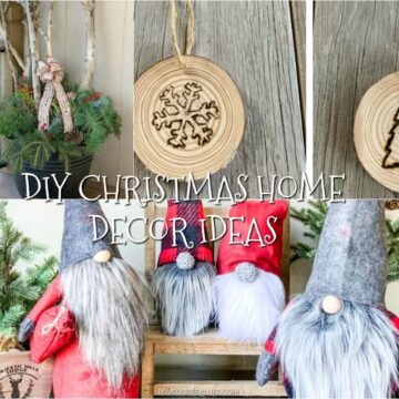 DIY Christmas projects: winter porch pot, wood slice ornaments, and Christmas gnomes