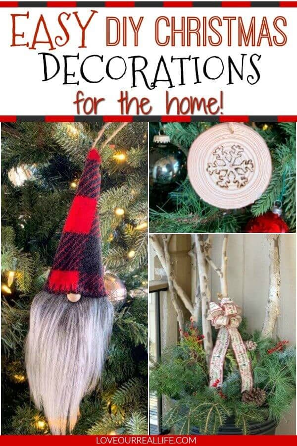 collage of christmas crafts: gnomes, wood ornament, winter pot.