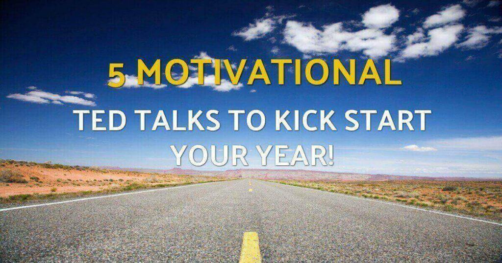 "Blue sky and desert highway with text overlay saying ""5 motivational TED Talks to kick start your year""."