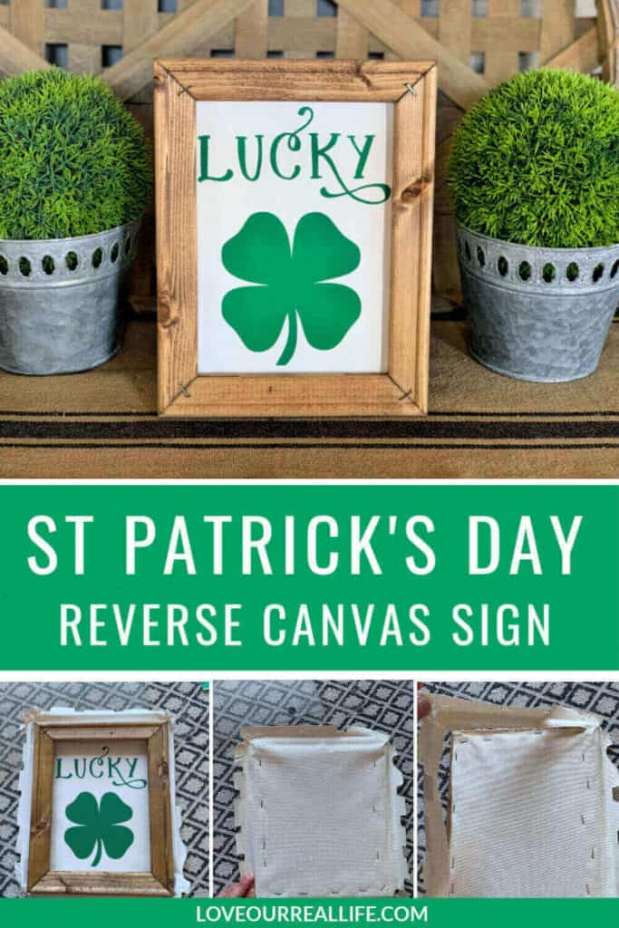 Collage of making a canvas sign with 'lucky' and a shamrock for St Patrick's day