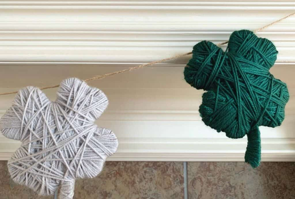 close up of yarn garland