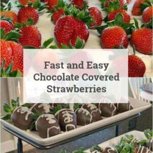 strawberries on towel and berries in chocolate