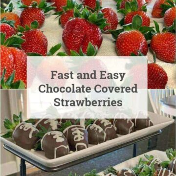 strawberries on towel and berries in chocolate