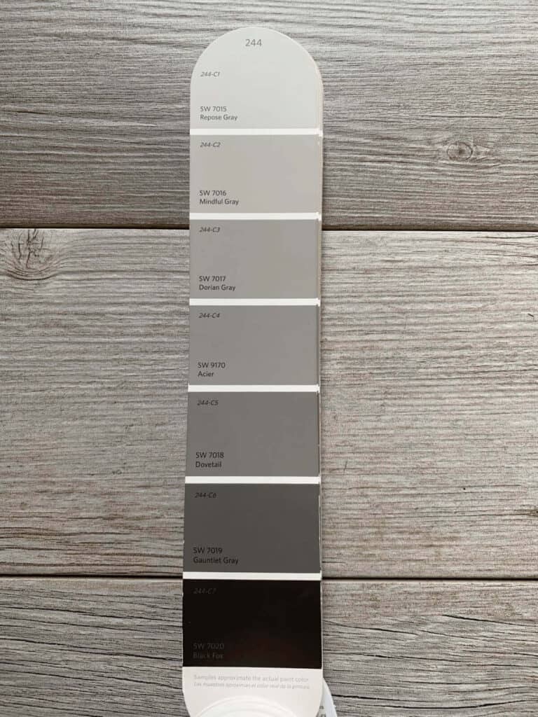 Sherwin Williams gray paint strip on gray wood backdrop