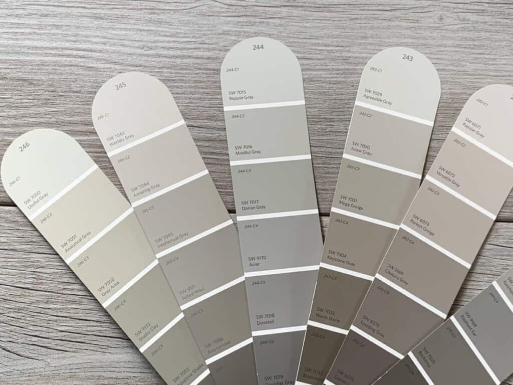 fan of Sherwin Williams gray and greige paint colors