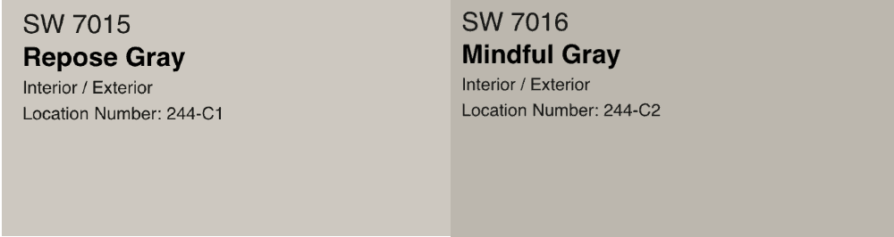 repose gray and mindful gray swatch side by side