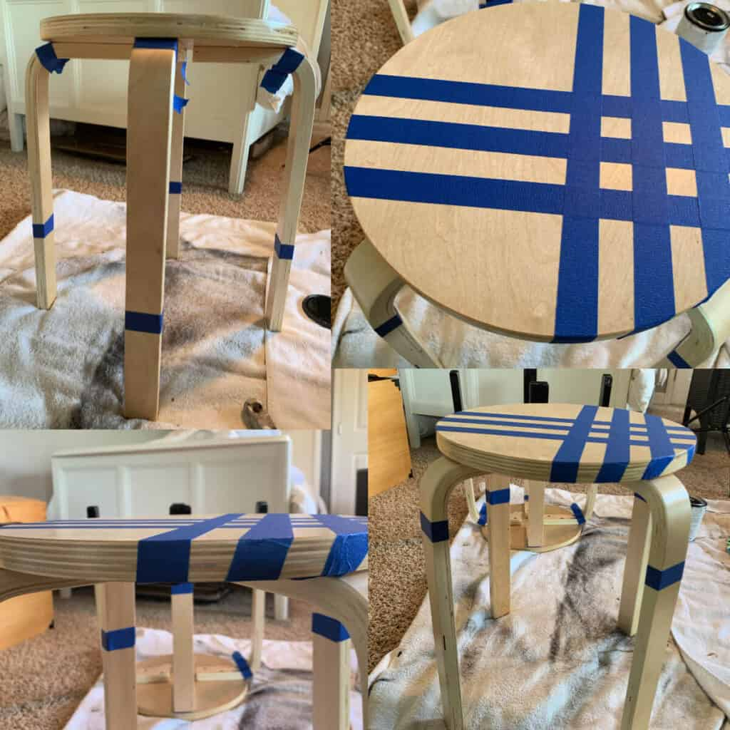 collage of taped stools