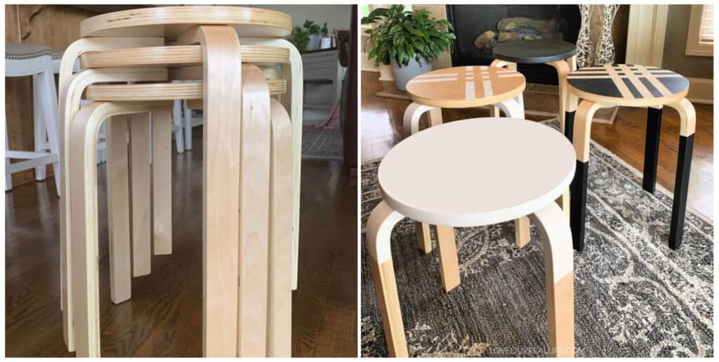 before and after after paint dipped furniture