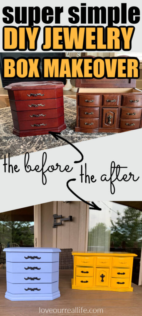 Overlay text that reads 'super simple diy jewelry box makeover' with images of before and after.