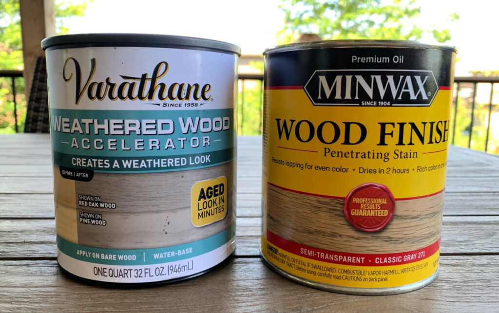 Weathered wood accelerator and classic gray wood stain