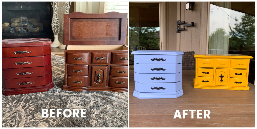 Before and after images of wooden jewelry boxes painted in blue as well as yellow.