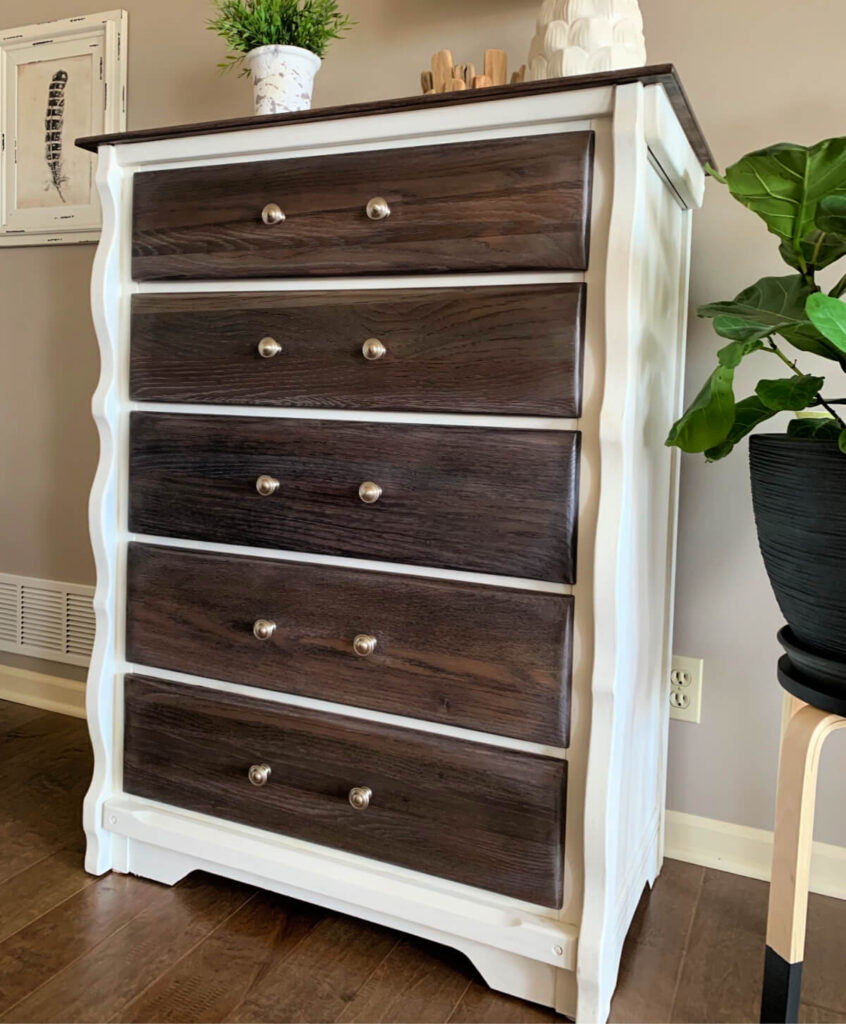 white dresser with gray stained top and drawers