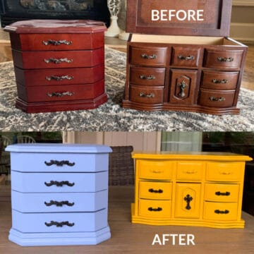 Before and after image of painting jewelry boxes for diy makeover