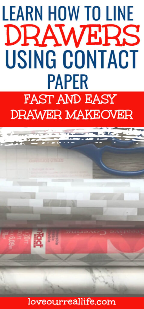 """Pinterest Pin saying """"learn how to line drawers using contact paper"""""""