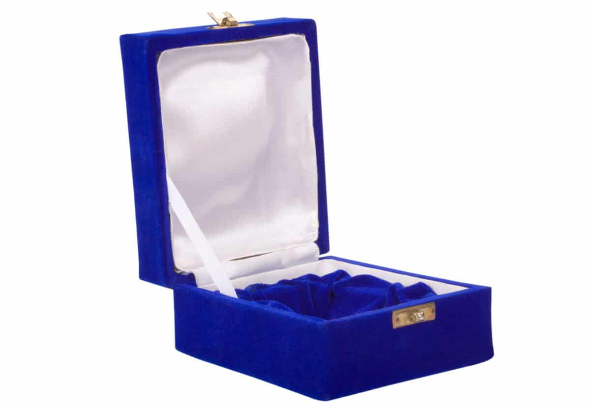 blue jewelry box with lid open