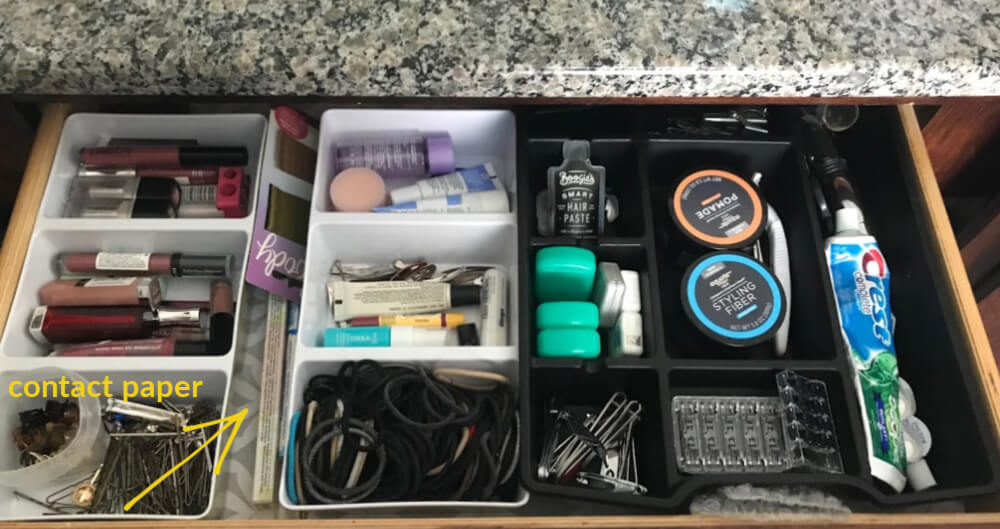 gray contact paper in bathroom drawer