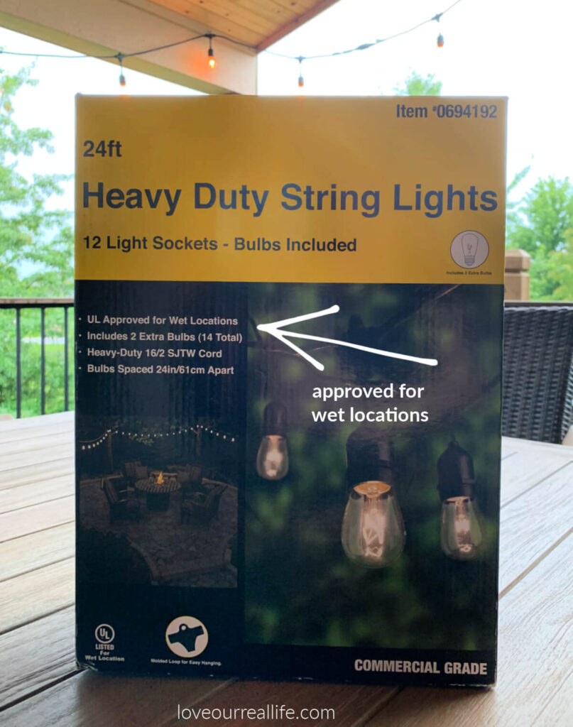 string lights specific for outdoor use