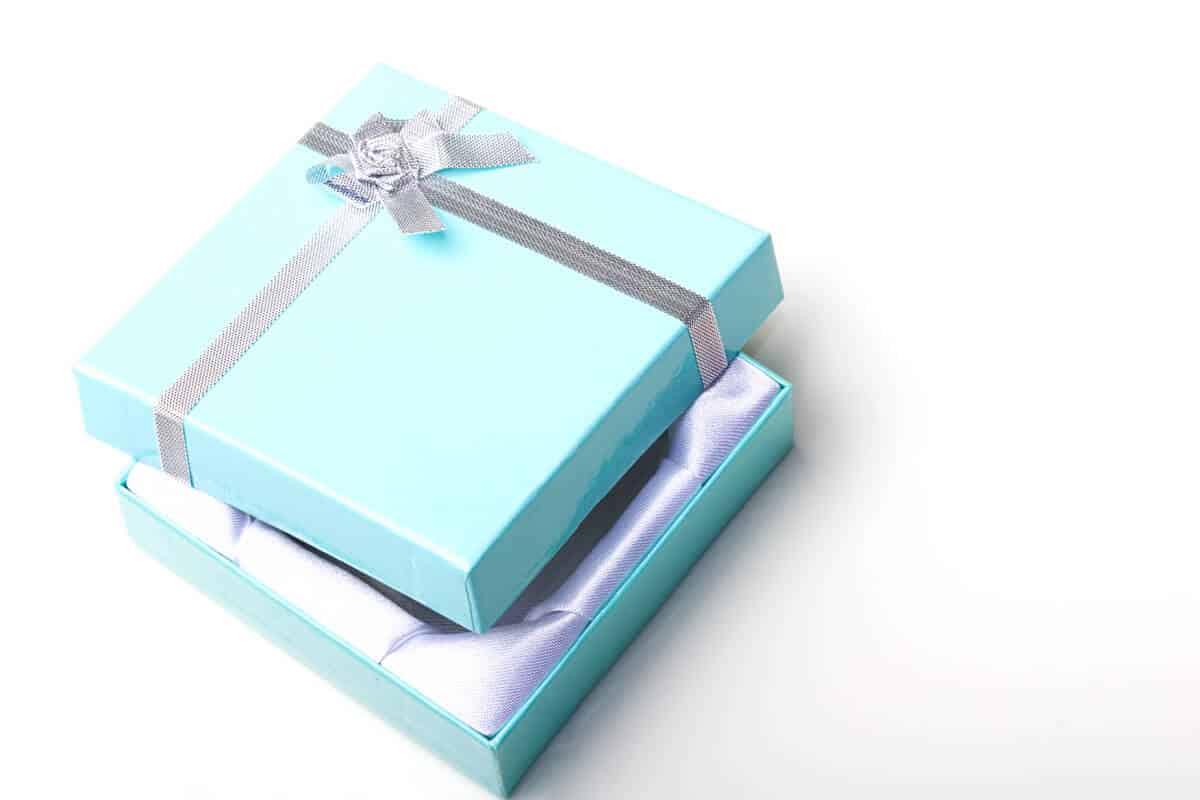 light blue jewelry box with lid ajar