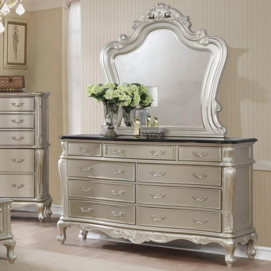 Silver dresser and attached mirror from Royal furniture