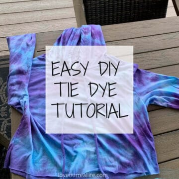 tie dye tutorial image with text overlay