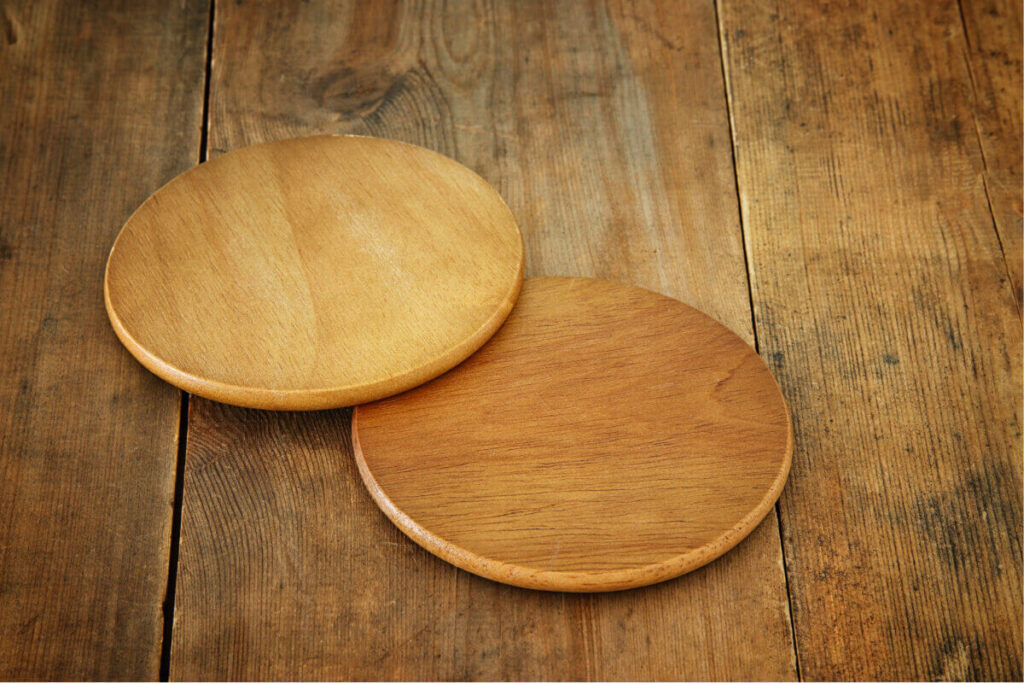 wooden coasters on wooden table