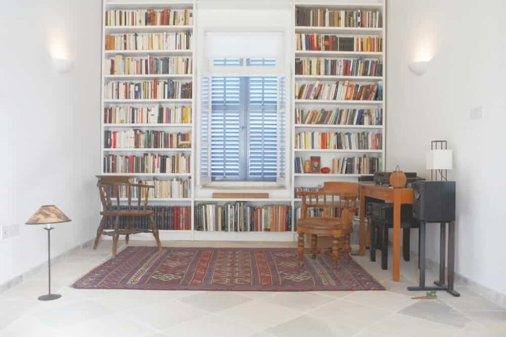 bookcases around a window