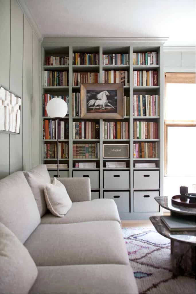 bookcases customized using IKEA Billy Bookcase system from Beautiful Mess
