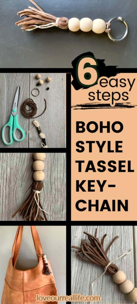 collage of making wood bead keychain with brown tassel