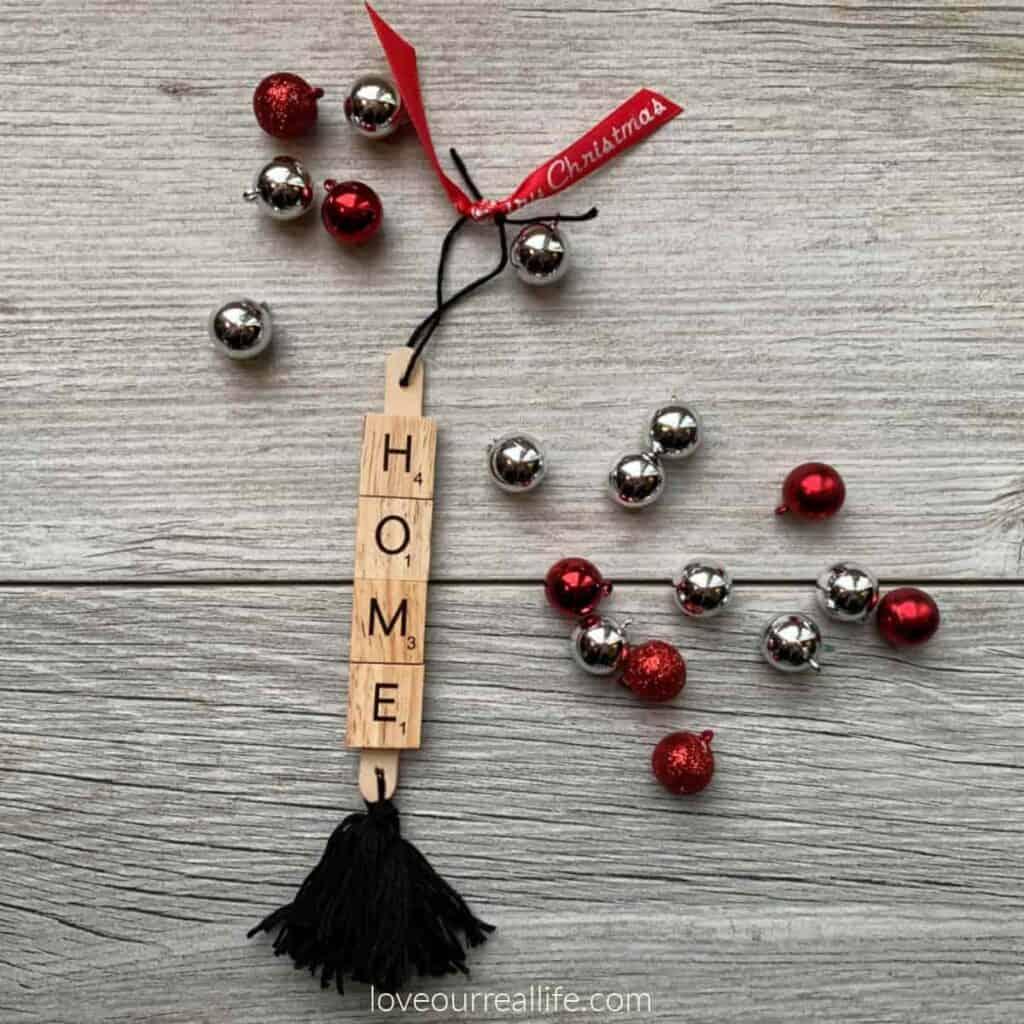 Scrabble tile Christmas ornament spelling home