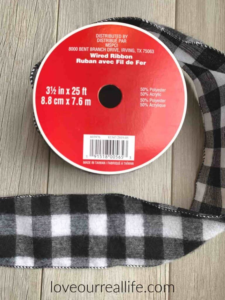 black and white plaid wire ribbon used for gnome doll hat