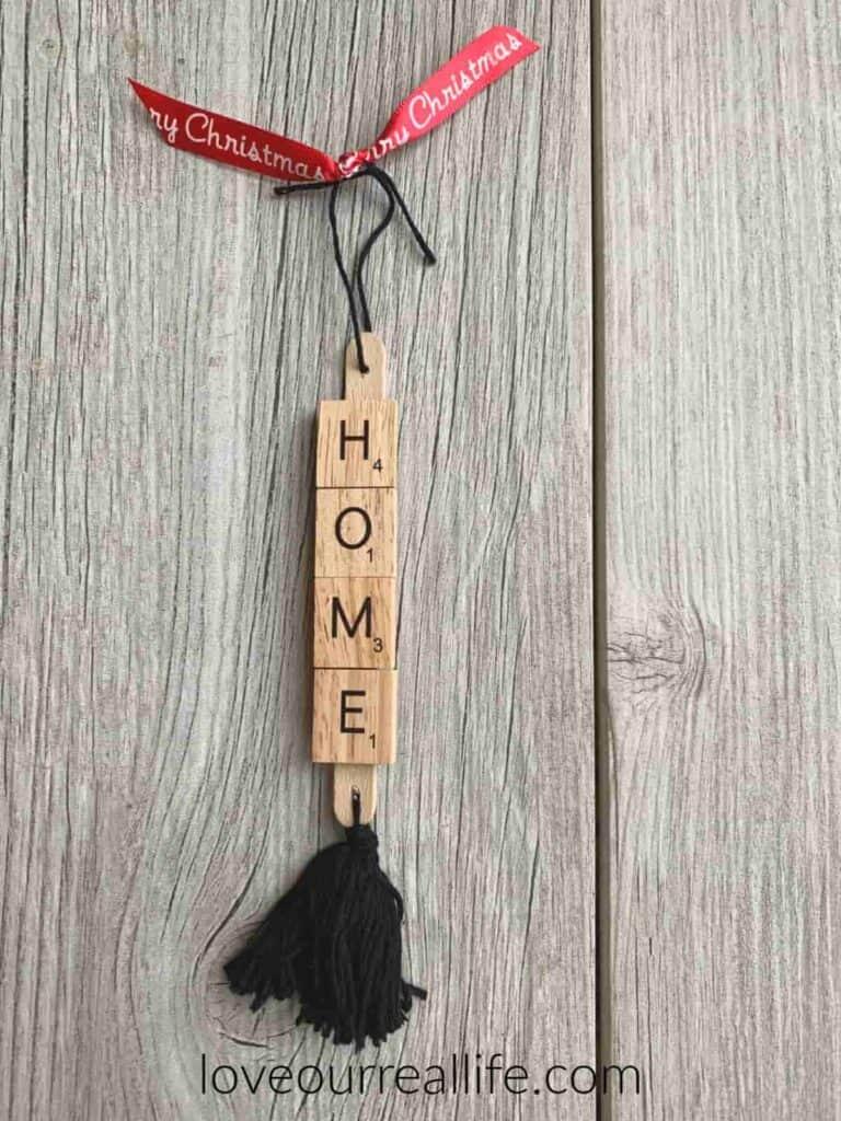 Christmas ribbon on home scrabble tile ornament