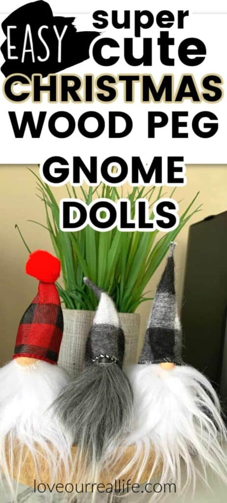 wooden peg dolls decorated as swedish Christmas gnomes