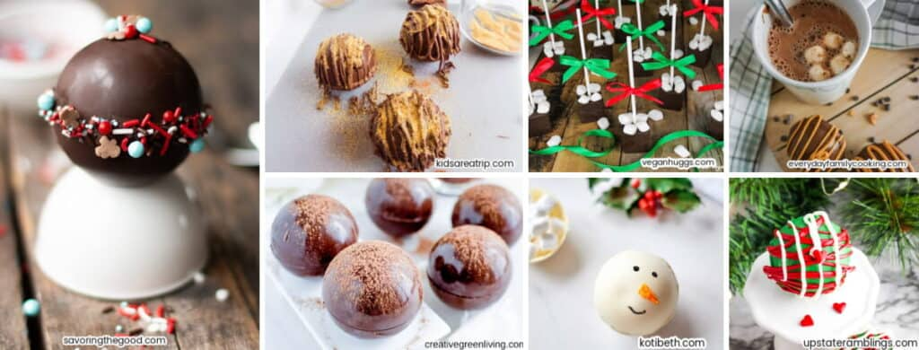 collage of various hot chocolate bombs