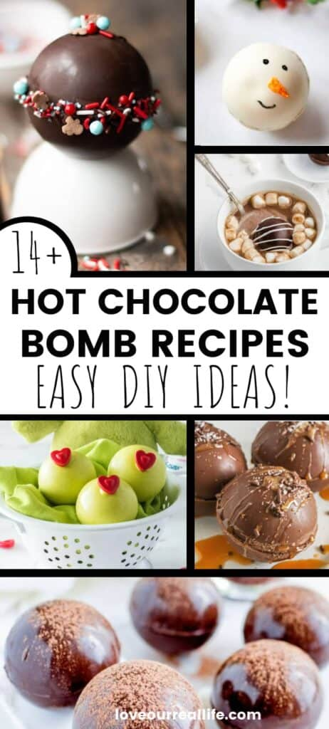 collage of hot chocolate bomb images