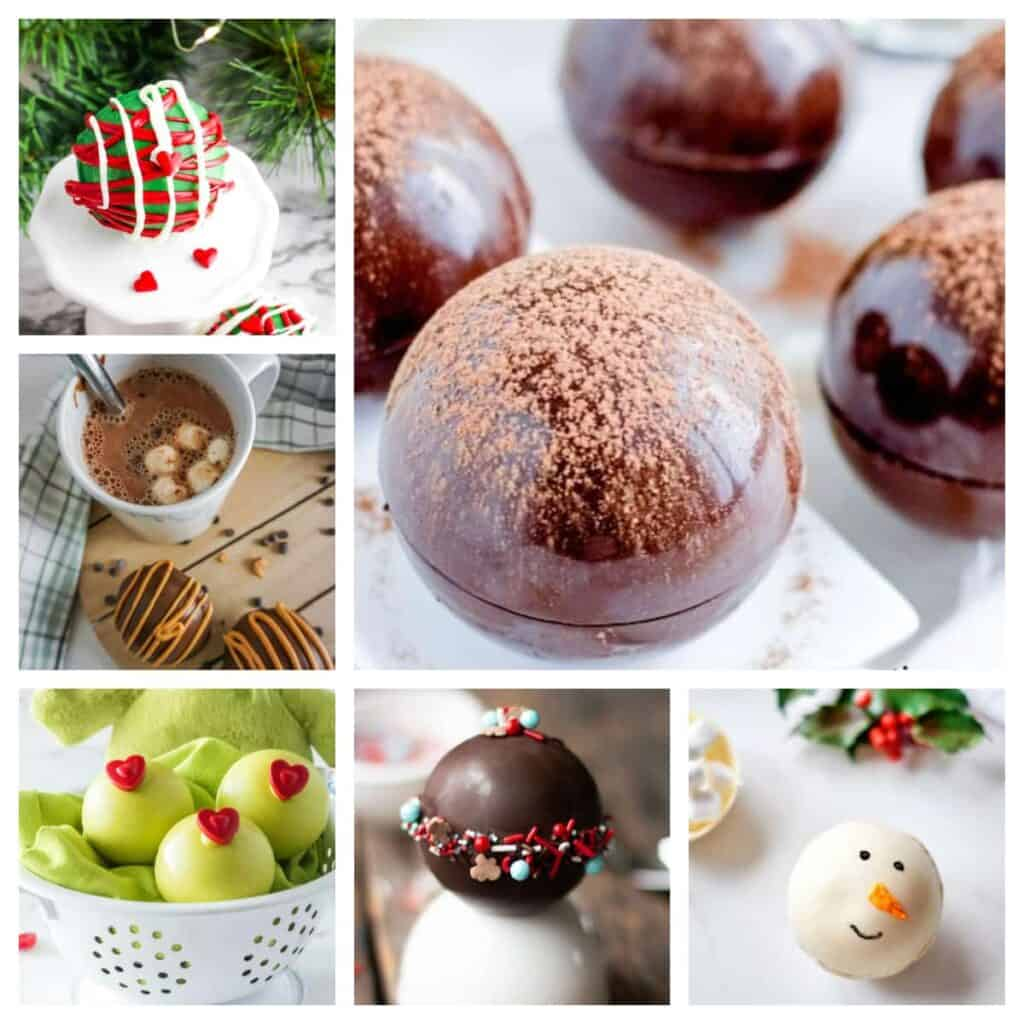 various hot chocolate bombs in a picture collage
