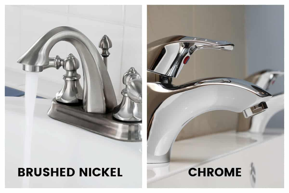 collage of brushed nickel vs appearance of chrome bathroom faucets