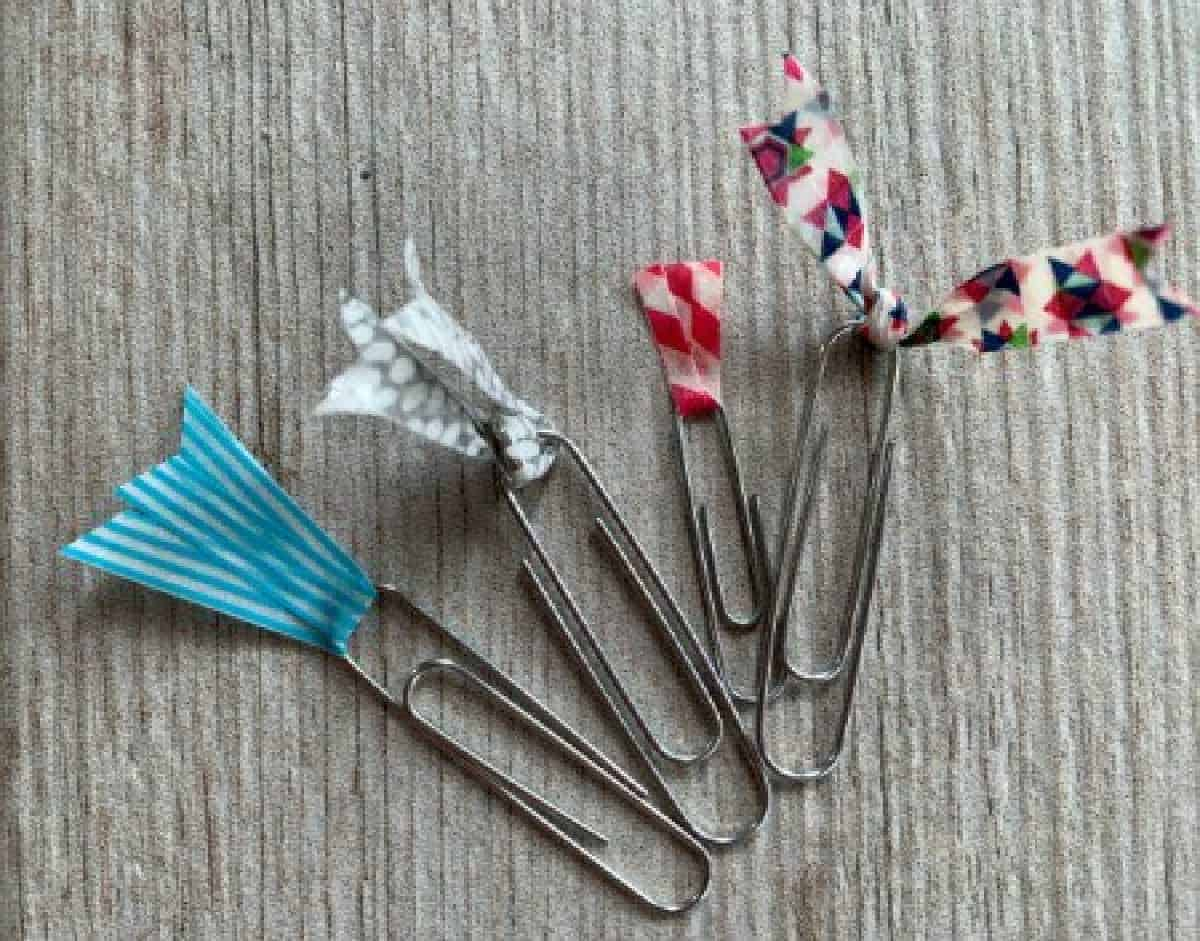 Washi tape flag on paperclips.