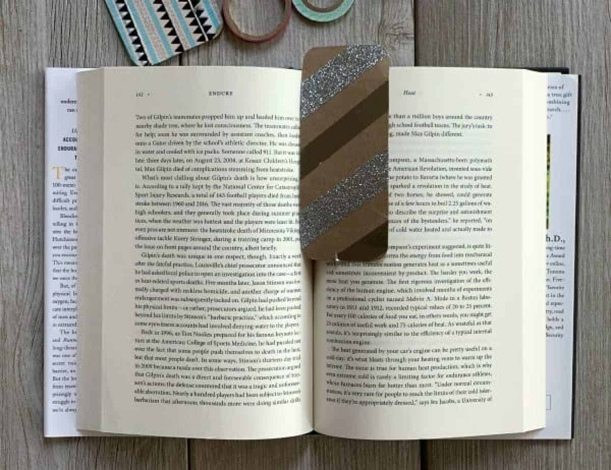 Homemade bookmark using decorative washi tape.